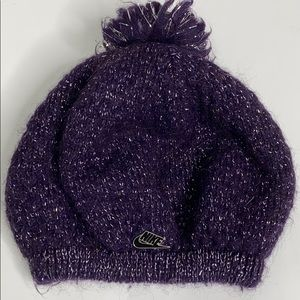 Nike Reversible Pom Pom Purple Metallic Beanie Hat